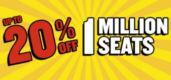 Один млн. билетов RyanAir со скидкой до 20% на перелеты до конца сентября